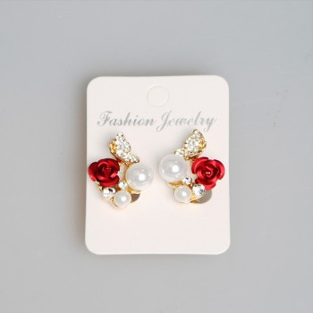 Elegant Flower Pearl Stud Earrings