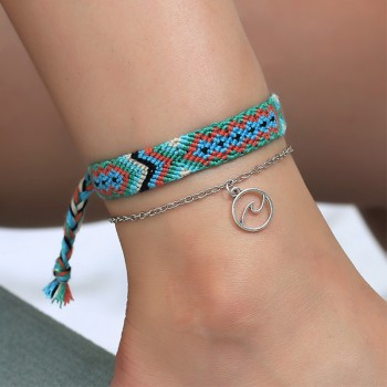 Layered Ethnic Design Hand-knitted Anklet