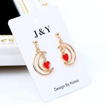 Beautiful Heart Moon Design Earrings