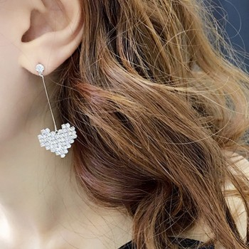 Beautiful Heart Linear Earrings