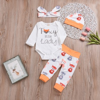 4-piece Foxy Little Lady Long-sleeve Bodysuit Set for Baby Girl