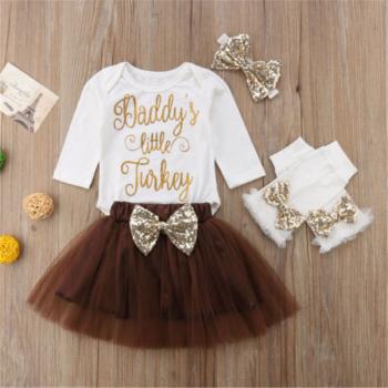 4-piece Thanksgiving Bodysuit, Skirt, Oversleeves and Headband Set for Baby Girl