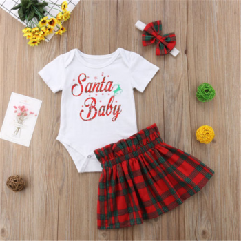 3-piece Merry Christmas Short-sleeve Bodysuit, Plaid Skirt and Headband Set for Baby Girl