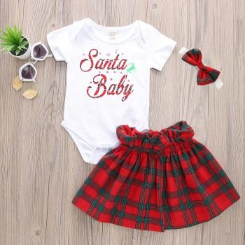 3 piece merry christmas short sleeve bodysuit plaid skirt and headband set for
