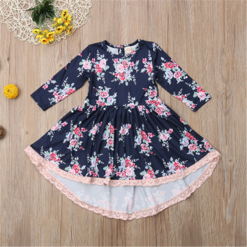 Stylish Flower Allover Lace Splice Long-sleeve Dress