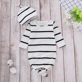 2-piece Casual Striped Sleeping Bag and Hat Set for Baby