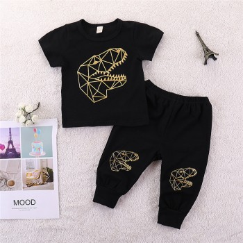 Baby and Toddler Boy's Stylish Dinosaur Print Black Short-sleeve Top and Pants Set
