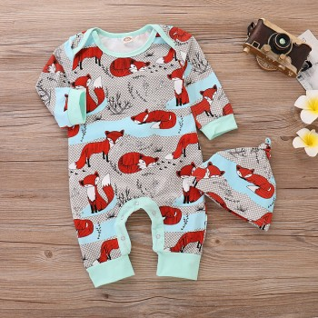 Cute Fox Print Long-sleeve Jumpsuit and Hats Set for Baby