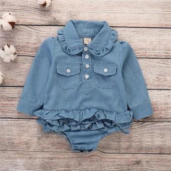 Sassy Ruffled Pocket Design Long-sleeve Denim Romper for Baby Girl