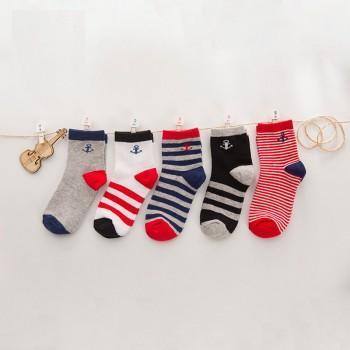 5-pair Cute Striped Anchor Pattern Socks Set