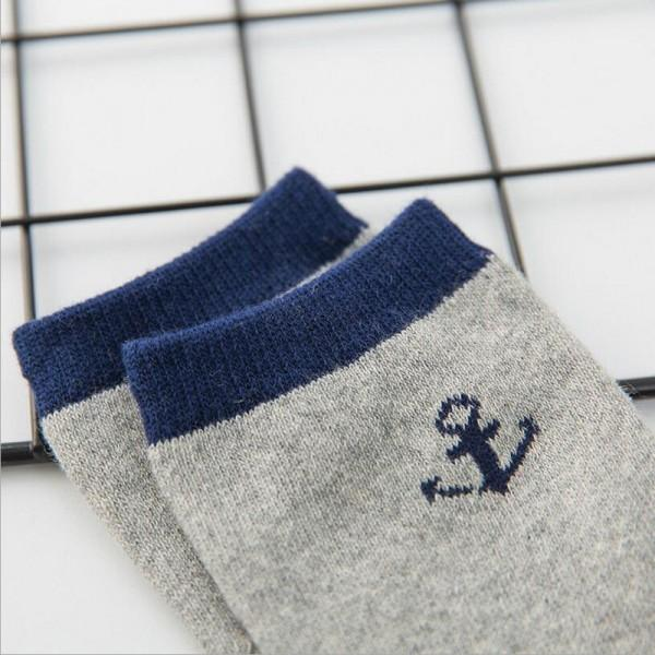 5-pair Cute Striped Anchor Pattern Socks Set