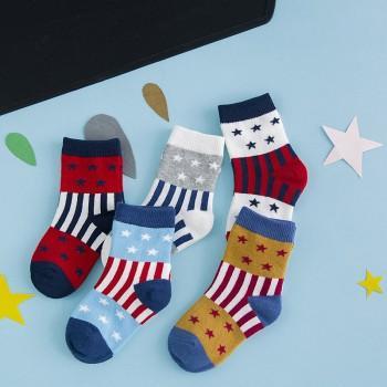 5-pair Lovely Star and Stripe Pattern Socks