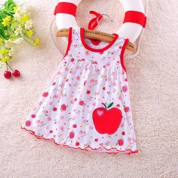 Lovely Allover Print Sleeveless Dress for Newborn Baby Girl
