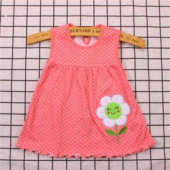 happy smile flower applique dress for newborn and baby girl