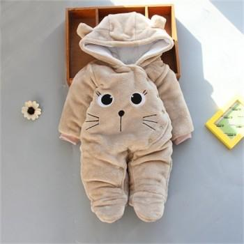 Warm Animal Design Fleece Hooded Footed Jumpsuit for Baby
