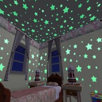 100-piece Fluorescent Star Wall Stickers