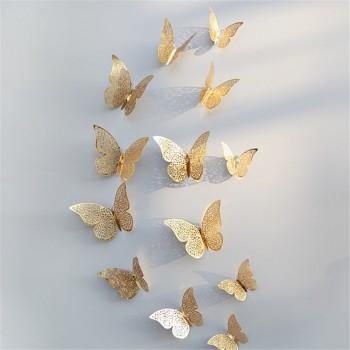 12-piece 3D Hollow out Butterfly Design Wall Sticker