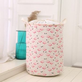 Stylish Flamingo Print Waterproof Linen Clothes Container