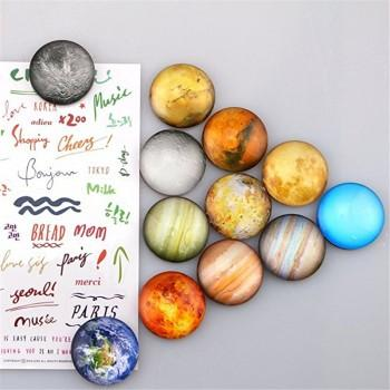12Pcs Fashionable Planets Pattern Crystal Glass Magnetic Refrigerator Stickers