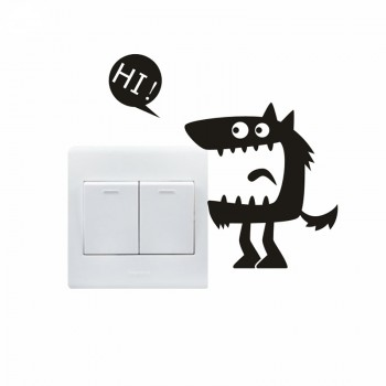 1 Pcs Funny Hi Monster Switch Wall Sticker