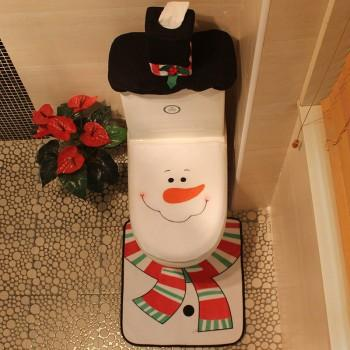3-piece Snowman Theme Toilet Seat Covers Floor Mat and Tank Tissue Cover Set