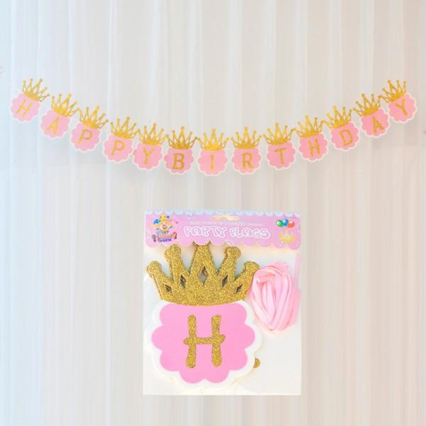 1 piece crown and letter design birthday party banner