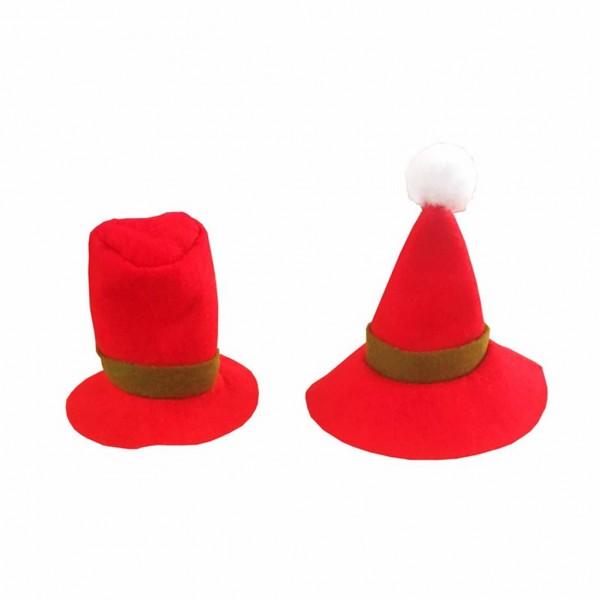 2-piece Christmas Design Bottle Hat Decor
