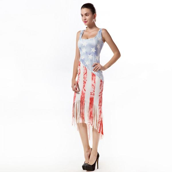 Trendy American Flag Print Dress Patpat