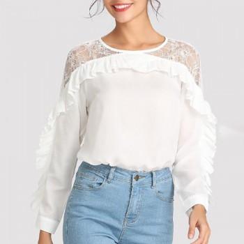 Trendy Lace Ruffle Long-sleeve Top