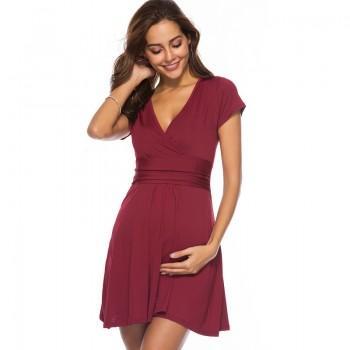 Trendy Solid V Neck Maternity Dress