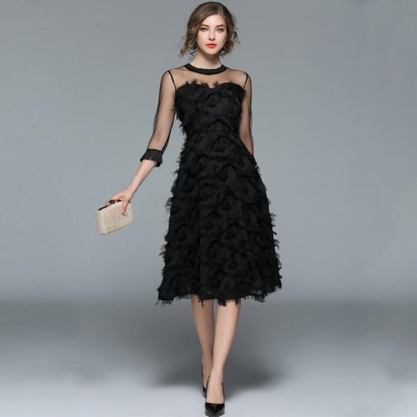 Elegant Tulle Feather Midi Party Dress