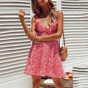 Charming Floral Backless Strap Dress