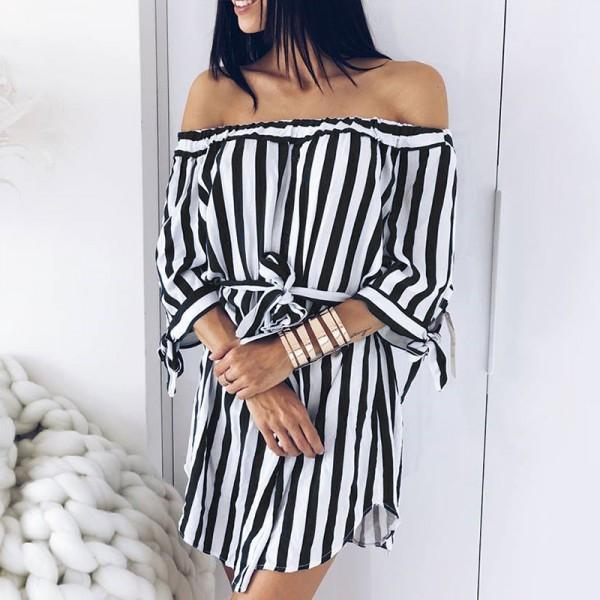 Sassy Off Shoulder Stripe Half-sleeve Dress