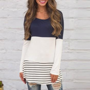 Pretty Striped Patchwork Long-sleeve Top