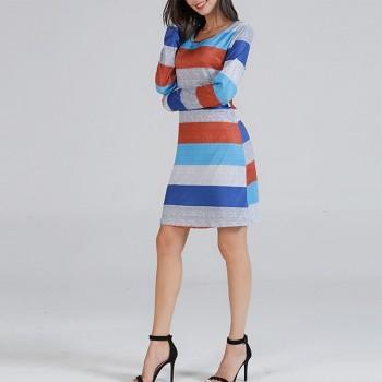 Sassy Color Blocked Long-sleeve Dress