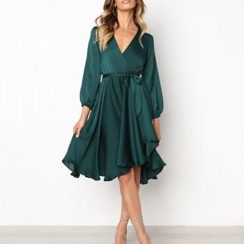 Elegant Solid V Neck Long-sleeve Midi Dress