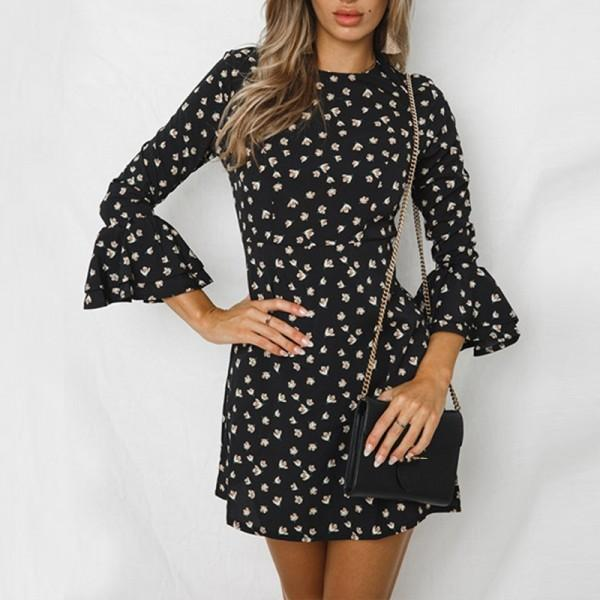 Chic Polka Dots Flare-sleeve Dress