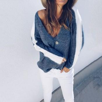 Charming V Neck Contrast Knitwear