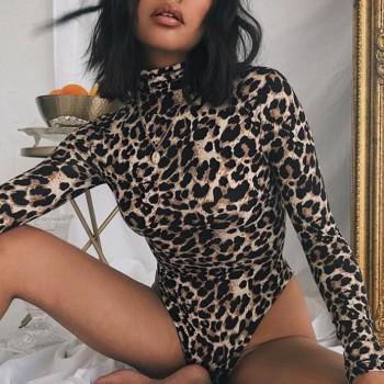 Stylish Leopard Long-sleeve Romper