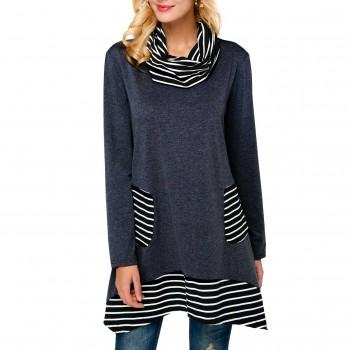 Trendy Striped High Collar Long Top