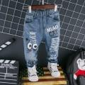 Trendy Cartoon Cat Print Hole Jeans for Toddler and Kid