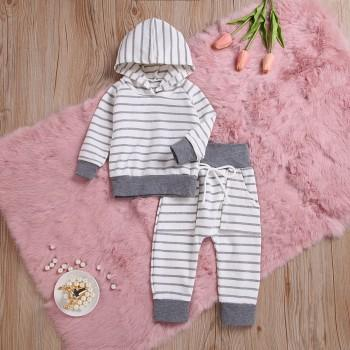 2-piece Casual Striped Long-sleeve Hoodie and Pants Set for Baby