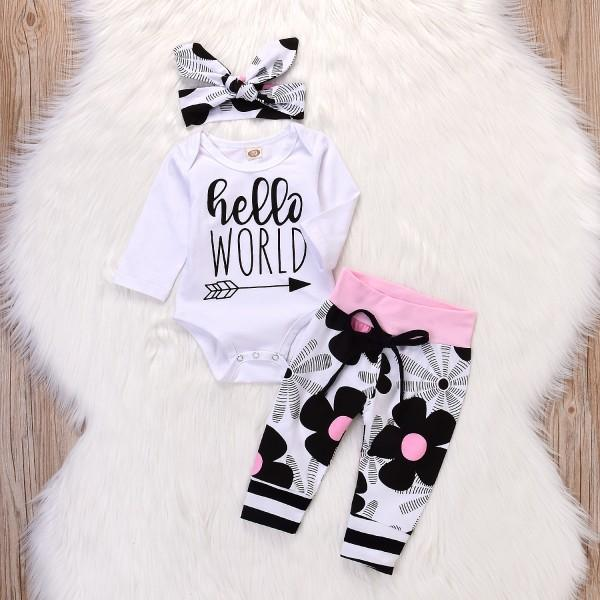 3-piece Casual Letter Print Long-sleeve Bodysuit, Floral Pants and Headband  Set
