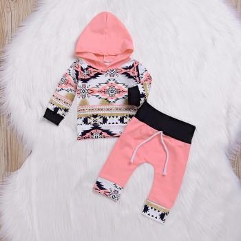 2-piece Casual Floral Long-sleeve Hoodie and Pants Set for Baby
