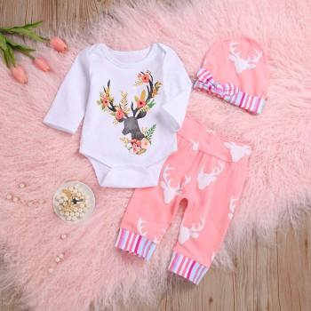 3-piece Super Lovely Deer Print Long-sleeve Bodysuit, Pants and Hat Set