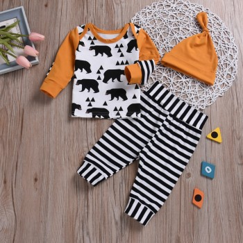 3-piece Casual Bear Patterned Long-sleeve Top, Striped Pants and Hat Set