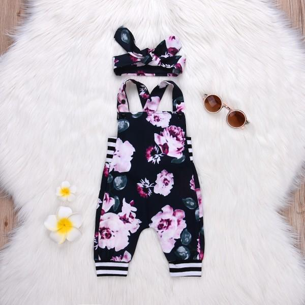 Beautiful Digital Floral Print Striped Overalls Jumpsuit and Headband