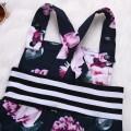Beautiful Digital Floral Print Striped Overalls Jumpsuit and Headband