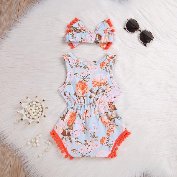 Pretty Allover Floral Pompom Decor Sleeveless Bodysuit and Headband