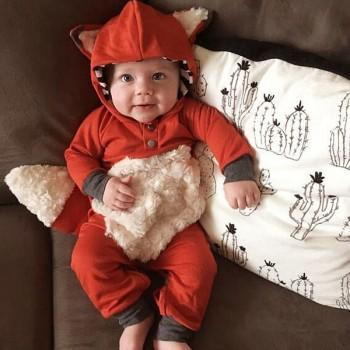 Adorable Fox Design 3D Tailing Long-sleeve Jumpsuit for Baby